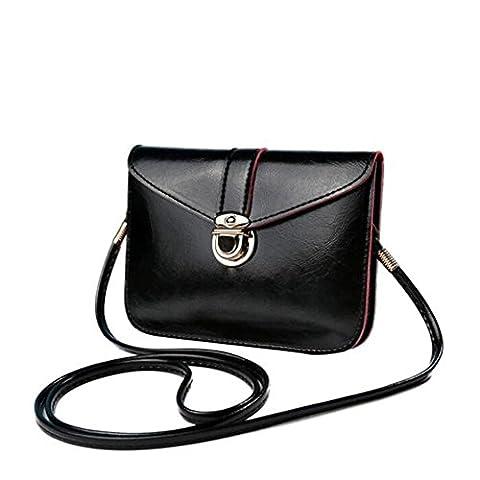 Bluester Fashion Zero Purse Bag Leather Handbag Single Shoulder Messenger Phone Bag (Black)