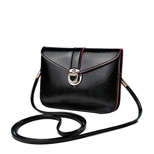 - 41hw68oMHwL - Bluester Fashion Zero Purse Bag Leather Handbag Single Shoulder Messenger Phone Bag (Black)