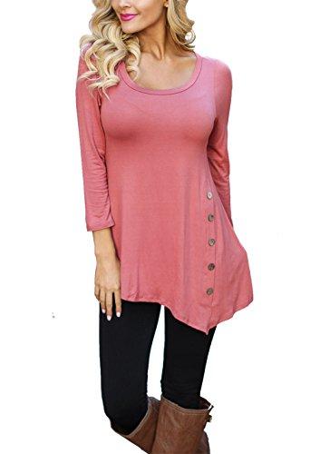 CoCo Fashion Herbst Sweatshirt Damen Langarm Shirt Casual Oberteil Asymmetrisch Shirt Tunika mit Zierknöpfe (EU XL, Rosarot) (3/4-länge-stiefel)