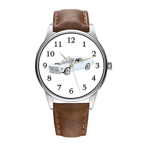 Herrenuhr braune Cortex Quarz-Uhr für Herren berühmte Luxus-Armbanduhr Quarzuhr für Werbegeschenk 1970 Ford Mustang Boss Armbanduhren (Ford Mädchen Kleidung)