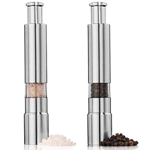 Preisvergleich Produktbild Mini Salz- und Pfeffermühle Set, 2Packungen Profi Edelstahl Manuelle Pfeffermühle mit transparentem Fenster