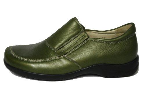 Highlander Ninette HL-903701 Damen Halbschuhe Elchlederschuhe Olive (schlif met)