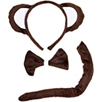 Petitebelle marrón Mono diadema pajarita cola 3pc disfraz para niños