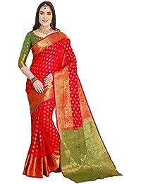 EthnicJunction Art Silk Saree with Blouse Piece (EJ1178-7978_Kumkum Red_Free Size)