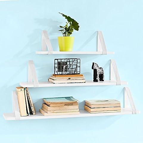 SoBuy® Juego de 3 estantes para pared, Estanterías de pared para CDs y libros, Blanco, FRG29-W,