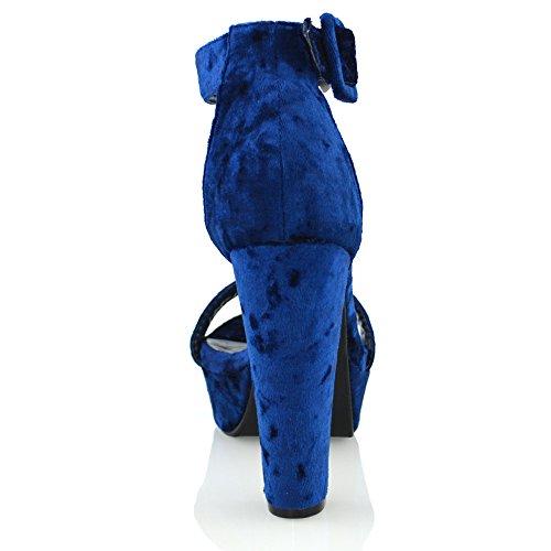 ESSEX Glam Damen knöchelriemen plateau synthetisches blockabsatz sandalen Königsblau Samt