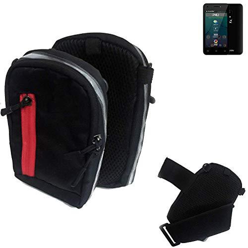 K-S-Trade® Outdoor Gürteltasche Umhängetasche Für Allview P42 Schwarz Handytasche Case Travelbag Schutzhülle Handyhülle