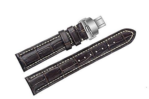 20mm Dark Brown cuir de vachette bracelets / bandes Contrast-Stitch avec boucle déployante