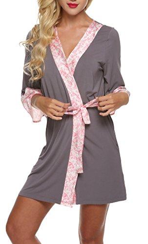 ADOME Damen Bademantel Kimono Robe Negligee Kurze Nachtwäsche Saunamantel Nightwear Druck mit Taschen Morgenmantel Grau und Rosa XS (Kurze Robe Jersey)