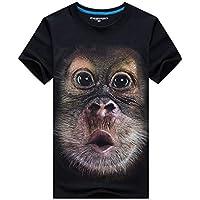 Sanzhileg Americana Hombres Gorila 3D Impreso Camisetas de Manga Corta Estilo Hip Hop Hombre Usar Diariamente O Cuello Tops Camisetas - Negro 6XL