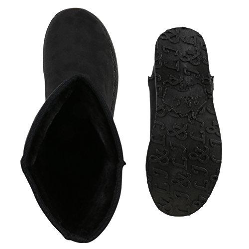 Warm Gefütterte Damen Stiefel Schlupfstiefel Boots Schuhe Schwarz