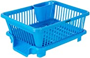 Amazon Brand - Solimo Plastic Dish Drainer and Drying Rack for Kitchen Blue