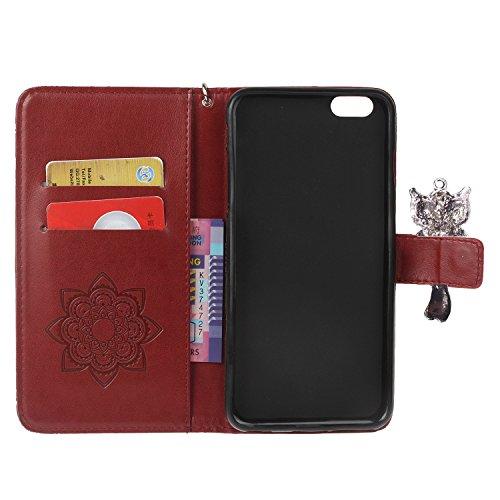 PU iPhone 6 Plus Coque Bookstyle Hibou Étui Fleur Housse en Cuir Case à rabat pour Apple iPhone 6 Plus (5.5 pouces) Coque de protection Portefeuille PU Case Cover (+Bouchons de poussière) (8) 1