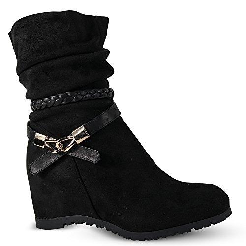 Damen Stiefeletten Keilabsatz Boots Stiefel leicht gefüttert Wedge ST752 Schwarz