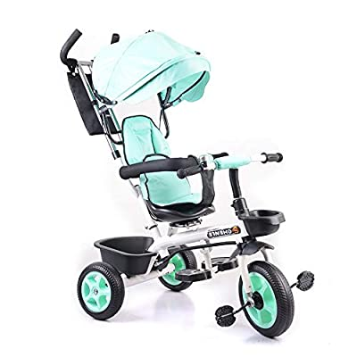 SCJ Lightweight Baby Tricycle Stroller Kids Folding Trike Detachable Canopy Pushing Handle Learning Bike Ride On Blue,Green