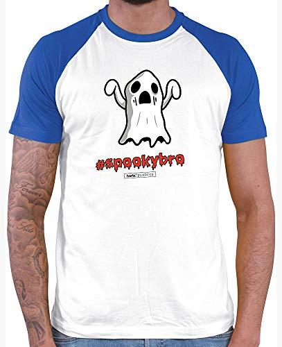 HARIZ  Herren Baseball Shirt Pixbros Spookybro Halloween Kostüm Horror Kürbis Inkl. Geschenk Karte White/Royal Blue M