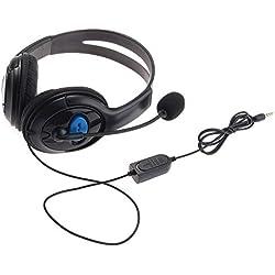 giZmoZ n gadgetZ GNG Grand écouteur De Noir De Qualité Prémium pour Playstation PS4 / PC/Mac/Téléphone Mobile avec Un Microphone Et des écouteurs Mousse pour Plus De Confort