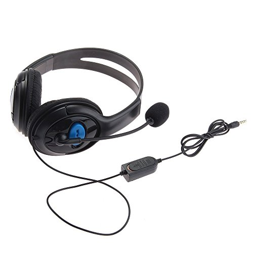 Price comparison product image GNG Black Premium Deluxe Large Playstation PS4 / PC / MAC / Mobile Headset Earphone with Microphone Mic, Foam ear piece for extra comfort
