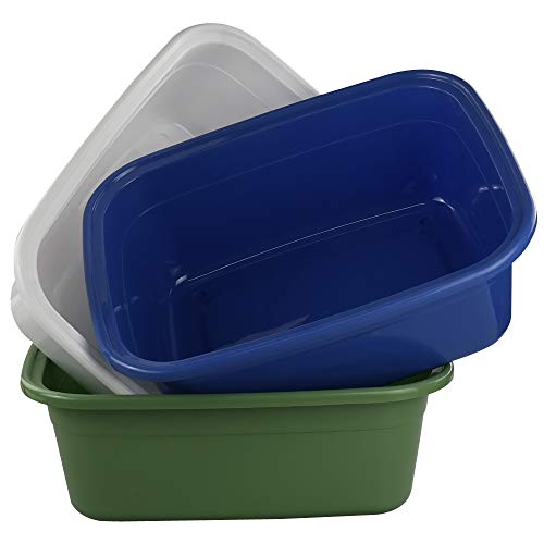 Annkky Juego de 3 Barreño Plástico, Cocina Rectangular Barreño, Barreño Plastico Grande