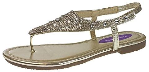 Lora Dora Womens Diamante Sandals Faux Leather Toe Posts Elastic Strap T Bar Shoes Size UK 3-8