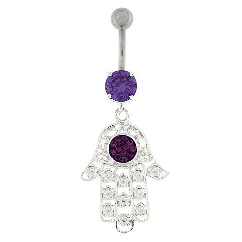 Fantaisie Hamsa main Dangling Design argent 925 Sterling avec anneau de nombril en acier inoxydable violet