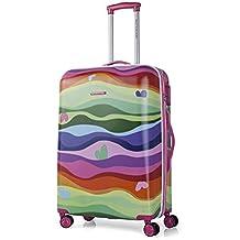 AGATHA RUIZ DE LA PRADA - Trolley mediano en ABS Print OLAS, Color Fucsia