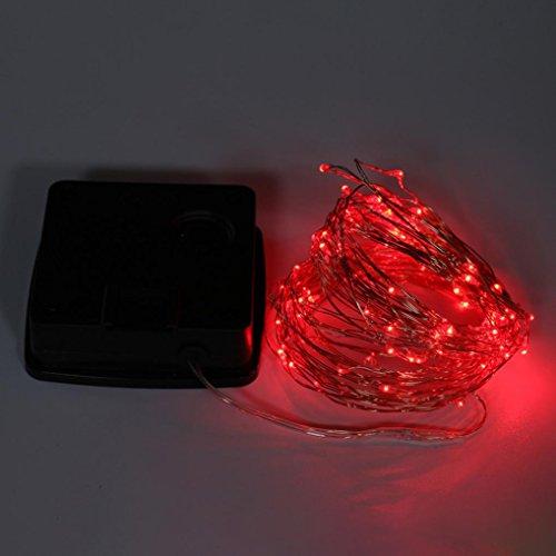 Kingko Lichterkette Solar 10 M 100 Lichter Kupfer Lichterkette, Wasserdicht, Warmweiß, LED Solarlichterkette, LED Solarleuchte, Solarlampe, Innen- und Außen Weihnachtsbeleuchtung (Rot)