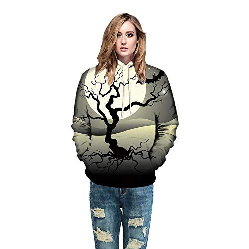 ESAILQ Männer Frauen-Modus 3D Print Halloween Paare Hoodies Top Bluse Shirts(XL,Grau)