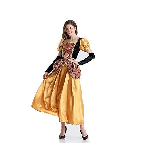 Romantik Kreative Halloween Prinzessin Kleid, Märchen Kostüm COS Goldlöckchen Prinzessin Adult Performance Kostüm Bühne (Farbe : Gold, Size : One size)