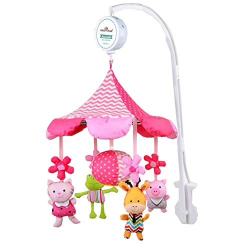 Bobbbiio Musikalisches Mobile Baby Kinderbett Schlaflied Melodien Plüsch Kinderzimmer Kann USB-Übertragung Verwenden,Pink35firstlullaby