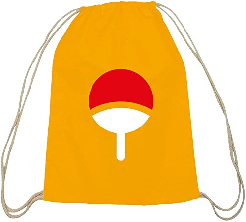 Shirtstreet24, Familie Uchiha, Baumwoll natur Turnbeutel Rucksack Sport Beutel gelb natur