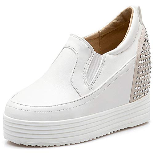 Kaloosh Women's Fashion Rivet Slip on Round Toe Thick Bottom Hidden Wedge Heel Platform Sneaker Pump Shoes Womens Platform Wedge Schuhe Sneaker