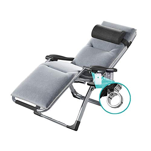 LotusTextile Sun Liegestühle mit Getränkehalter und Mehrzweck-Tablett Klappstuhl verstellbare abnehmbare Baumwolle Pad Mittagspause Office Home Nickerchen Chair Lounge Chair Zusammenklappbar
