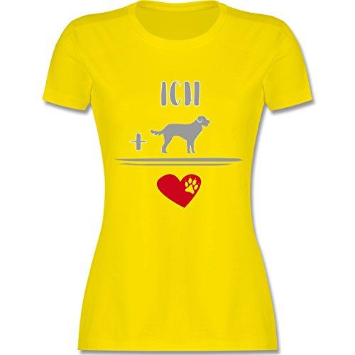 Shirtracer Statement Shirts - Hunde-Liebe - Damen T-Shirt Rundhals Lemon Gelb
