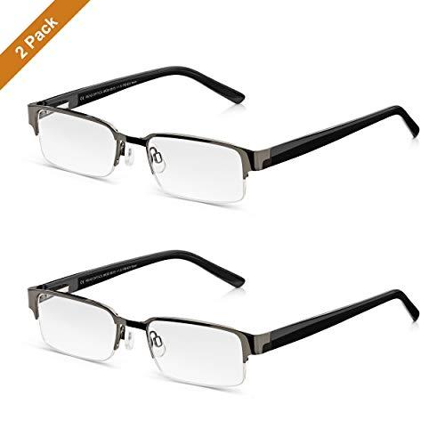 Read Optics 2er Set Herren Lesebrillen: Zwei klassische Lesehilfen mit Stärke +2,5 Dioptrien. In schwarzem Retro-Stil, mit Federscharnieren und weichen Nasenpads. Gläser hoher Qualität mit Blendschutz