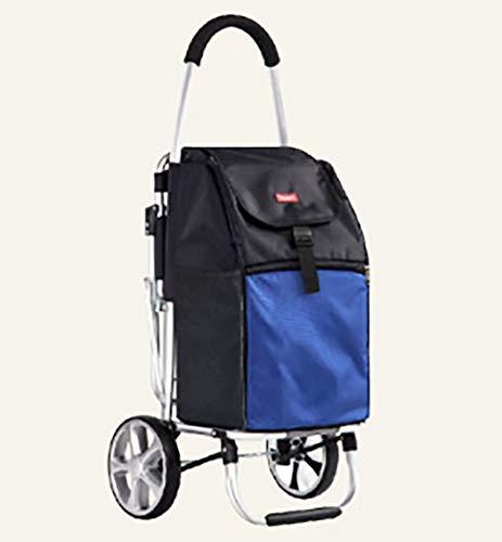 YGUOZ Großer Klappbar Einkaufswagen Einkaufstrolley, Einkaufshilfe mit Klappstuhl, Leichtem Shopping Trolley, (55L),Blue