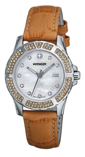 Wenger Elegant Ladies Watch 70312 With Bright Colours And Decorated With Alpine Crystals