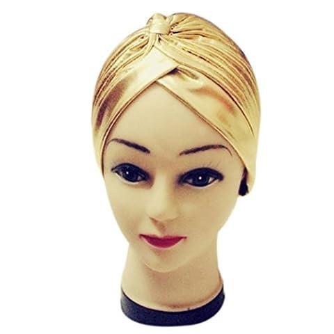 Damen Falten Dehnbar Caps, zahuihuiM Herbst Polyester Indien-Stil Baden Turban Hüte (Gold)