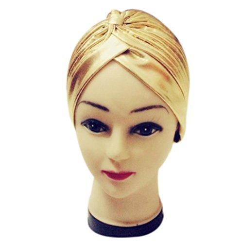 Damen Falten Dehnbar Caps, zahuihuiM Herbst Polyester Indien-Stil Baden Turban Hüte (Gold) (Herren Trachten Australien)