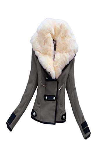 Blansdi Femme Mode Hiver chaud Mince double boutonnage en laine mélangée Veste Manteau Blouson hiver