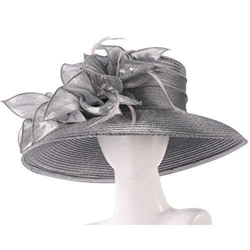 REIGORHI Hut Damen Sommer Kentucky Derby Hut Womens Knit Formal Church Visor Dark Grey Hat Geflochtene Mütze Dark Grey - Womens Visor Knit Hat