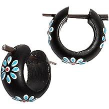Chic-Net La madera de los aros de flores de color azul oscuro rojo Pin Pin aros de los pendientes de las mujeres de resina de madera de coco Joyería
