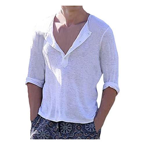 V-Ausschnitt T-Shirts Hemden Herren Sommer-Knopfleiste mit geschnittenes Leinen Kurzarmhemd Top Baumwollshirt Sweatshirt Bluse Tunika (Weiß,M -