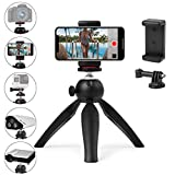 Polarduck Mini Tripod, Mobile Phone Tripod, Vlogging Tripod Compatible with iPhone/Compact DLSR/Samsung/Android/Webcam/Projector with Universal Phone Holder & GoPro Mount, 360° Rotation, Black