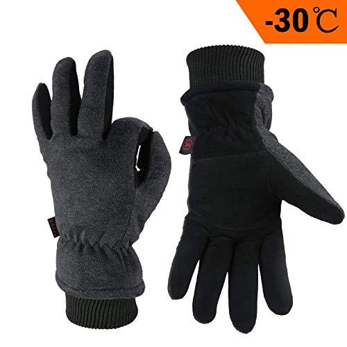 OZERO Thermo Handschuhe,Leder Warme Winter Handschuhe zum Laufen,1 Paar