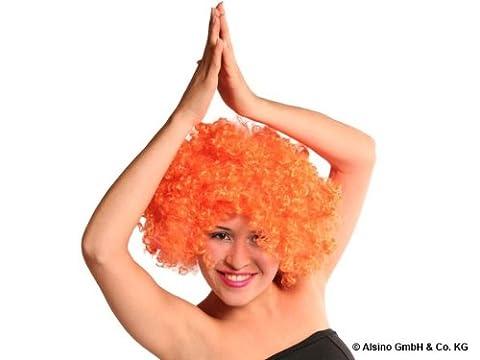 Perruque Afro Orange Méga Funky Party pour adulte coupe disco avec beaucoup de volume accessoire déguisement homme femme Soirées à thème disco, baba cool, années 70, funky et autres évènements festif