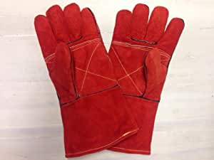 """SomerFire Red Heat Resistant Fireplace Stove Woodburner BBQ Barbeque Fireside 14"""" Gloves"""