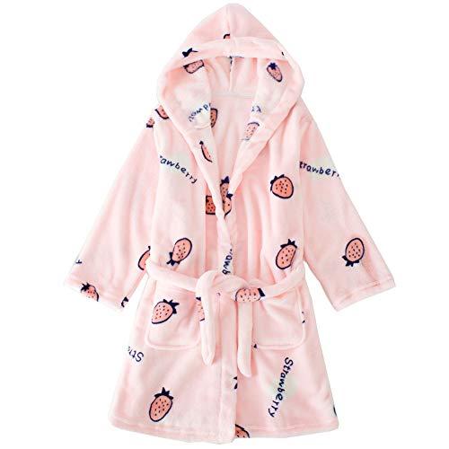 JZLPIN Unisex Kinder Flanell Mit Kapuze Bademantel Kinder Warm Robe Pyjama Nachtwäsche Erdbeere 150cm