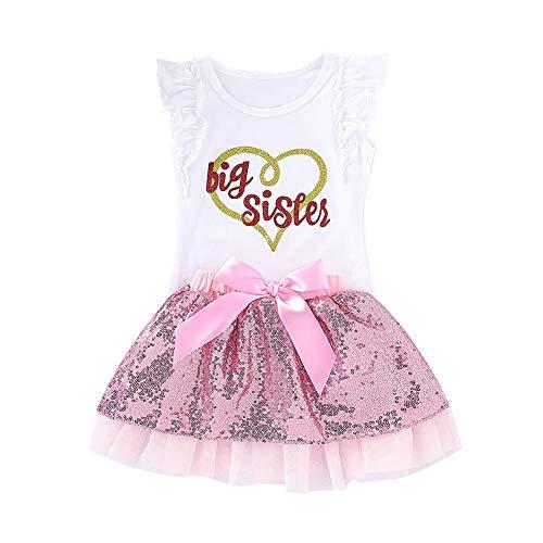 ommer Outfit große Schwester kleine Schwester Shirt Top und Paillettenrock 2 Stück Baby Mädchen Kleidung Set ()