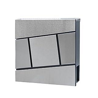 HENGMEI Design Briefkasten mit Zeitungsrolle Postkasten Wandbriefkasten Mailbox Groß Zeitungsfach Edelstahl pulverbeschichtet, Silber (H Modell)